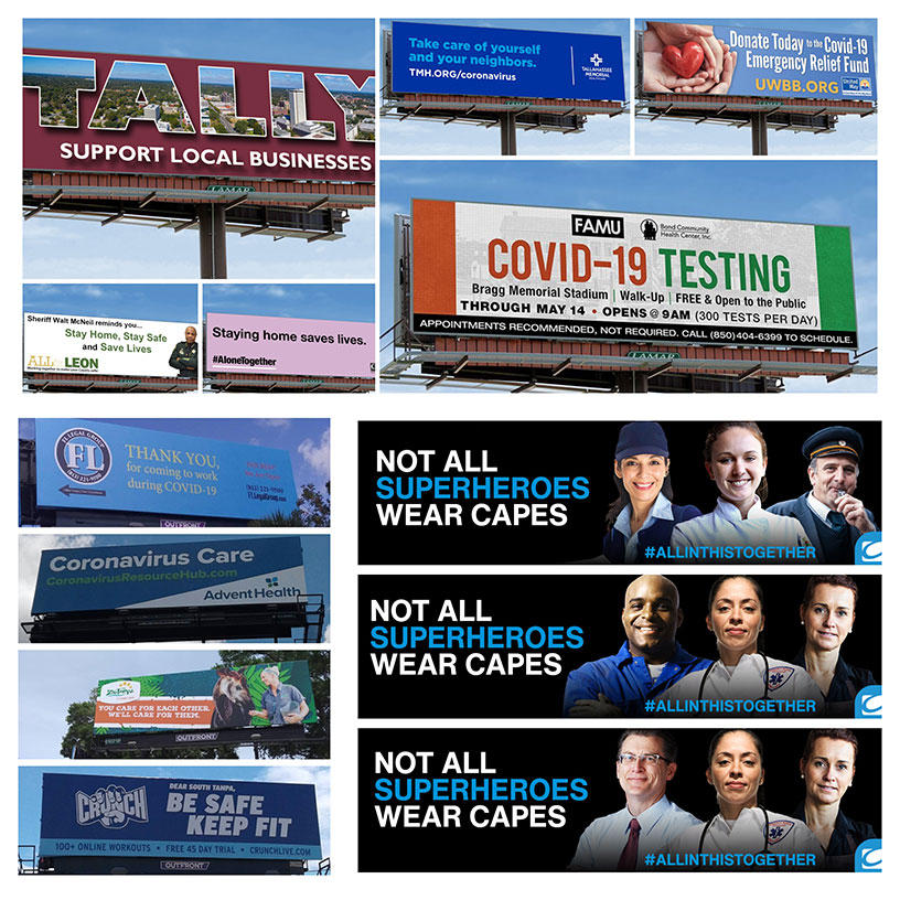 images of COVID-19-related billboards